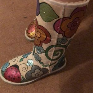 Hand painted flower multi colored tall UGGs
